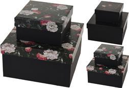 Krabička čierna veko s ružami veľká / CR 208930