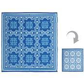 Koberec štvorcový modrý so vzorom
