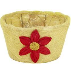 Prútený kvetináč,  žltý s kvietkom / F37-C362-POT