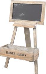 Drevenný stojan na kvetináč s tabuľou