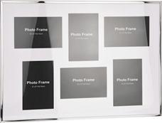Fotorám biely v striebornom ráme na 6 x foto  / CR