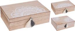 Box drevený s bielym ornamentom a strapcami veľký