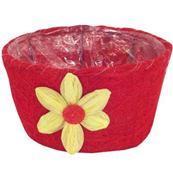 Prútený kvetináč,  červený s kvietkom / F37-C362-POT
