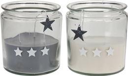 Sviečka v skle 3 x strieborná hviezda MAXI / 468928