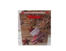 Papierová taška hnedá ponožka a slamené vločky malá / DKTAS17641