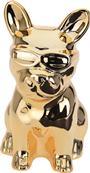 Pokladnička pes zlatý sediaci s okuliarmi