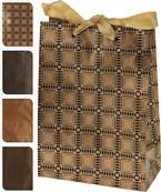 Papierová taška hnedozlatá so vzorom / CR 215655