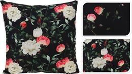 Vankúš čierny s ružami / CR 491039