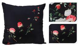 Vankúš čierny s ružami, veľký