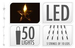 Svietiaca reťaz LED hviezdičky 5 x 10 LED / ZIM 206508