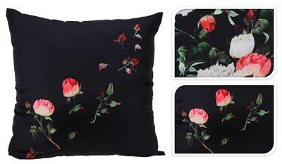 Vankúš čierny s ružami, veľký / CR 491040